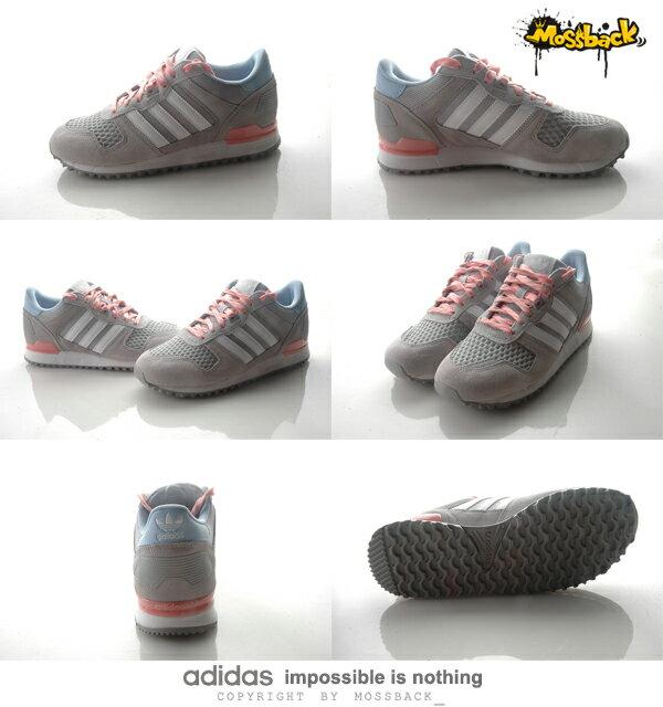 『Mossback』ADIDAS ZX 700 W 慢跑鞋 灰粉藍(女)NO:S78941 2