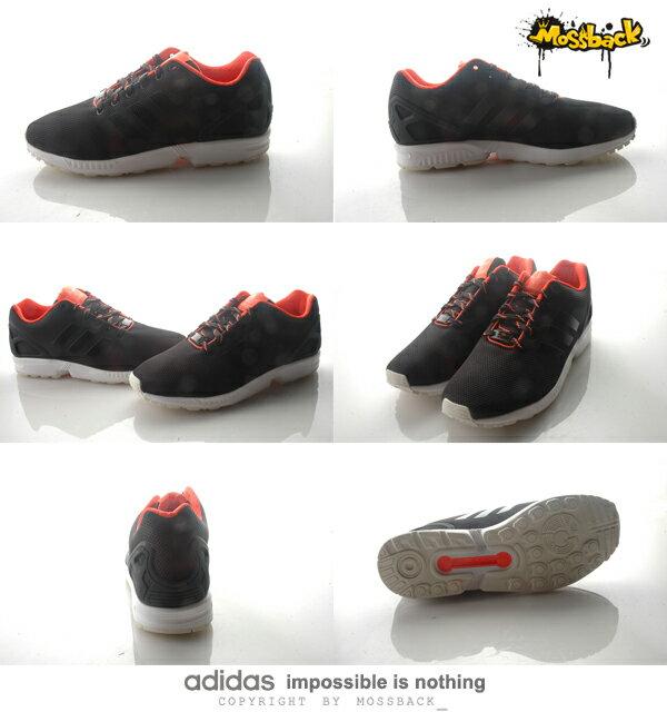 『Mossback』ADIDAS ZX FLUX 輕量 透氣 慢跑鞋 黑螢光橘(男)NO:S79099 2