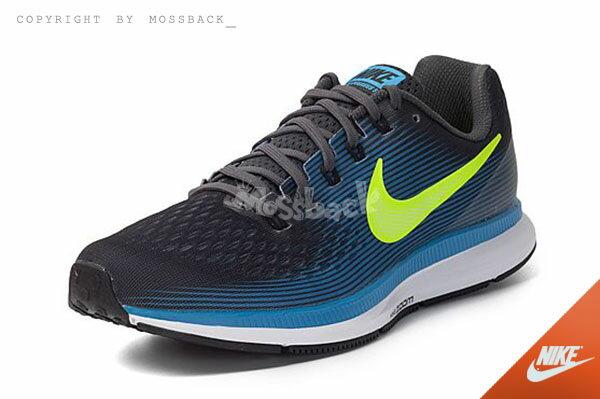 『Mossback』NIKE AIR ZOOM PEGASUS 34 慢跑鞋 黑藍黃(男)NO:880555-004 0