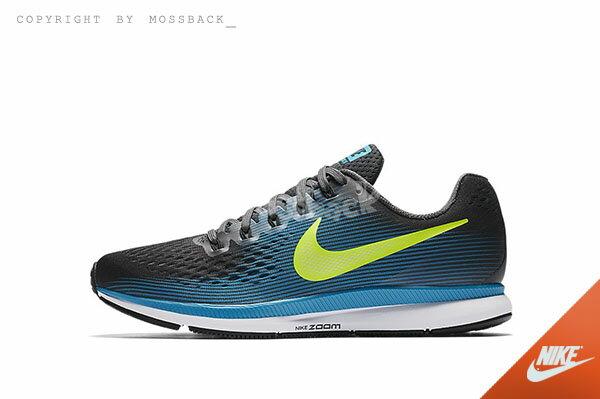 『Mossback』NIKE AIR ZOOM PEGASUS 34 慢跑鞋 黑藍黃(男)NO:880555-004 1