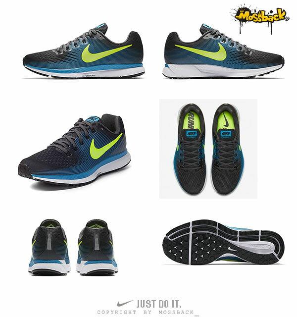 『Mossback』NIKE AIR ZOOM PEGASUS 34 慢跑鞋 黑藍黃(男)NO:880555-004 2