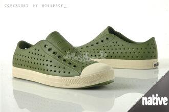 『Mossback』 NATIVE JEFFERSON 加拿大潮牌 奶油底 呼吸 懶人鞋 輕量 透氣 洞洞 涼拖鞋 綠色