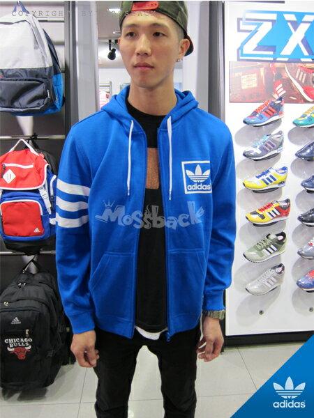 『Mossback』ADIDAS 3FOIL FZ HOODY 連帽 外套 藍色(男)NO:M30267