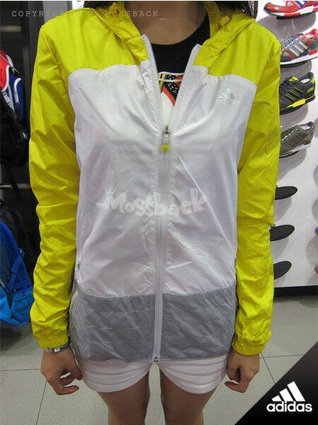 『Mossback』ADIDAS FV WINDBREAKER 拼接 連帽 外套 風衣 黃白灰(女)NO:M68586
