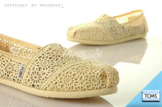 『Mossback』TOMS CLASSICS CROCHET 針織 摟空 蕾絲 懶人鞋 平底 米黃(女)NO:001096B10LEMON