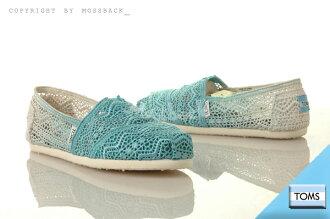 『Mossback』TOMS CLASSICS DIP-DYED 針織 摟空 蕾絲 懶人鞋 平底 漸層 水藍色(女)NO:10001334