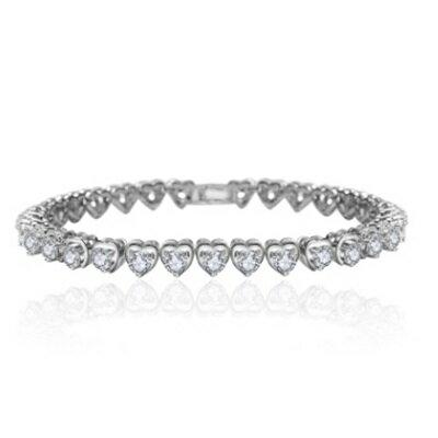 純銀手鍊 鍍白金鑲鑽手環 ~ 精緻亮眼愛心生日情人節 女飾品73cv54~ ~~米蘭 ~