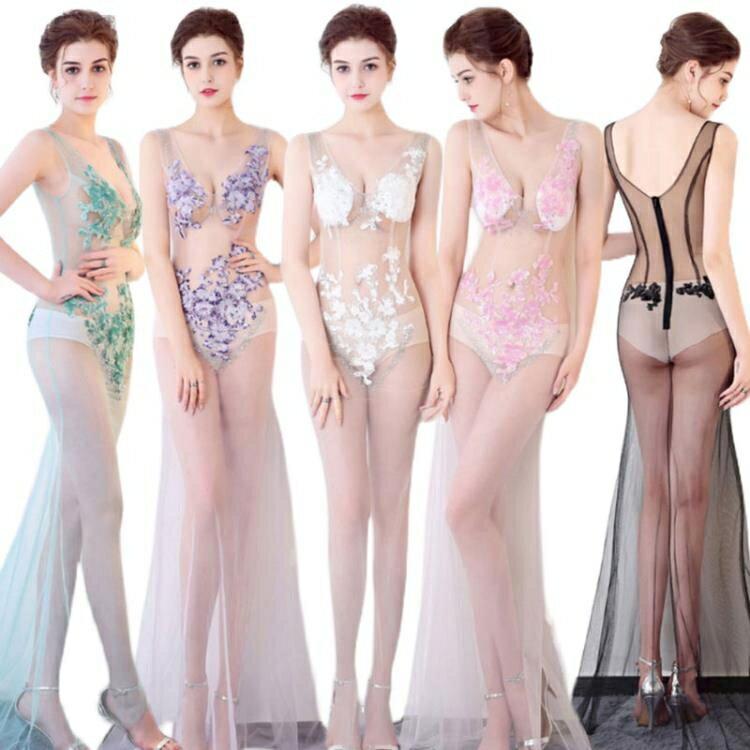 透視禮服 洋裝 性感新款禮服低胸夜場長裙子上班衣服連身裙蕾絲夜總會性感透視-麥田印象
