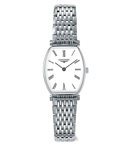 LONGINES浪琴表 L42054116嘉嵐石英酒桶超薄腕錶/白面22.2*24.5mm