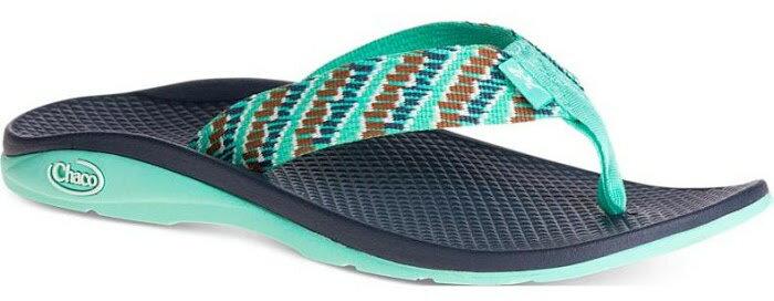 ├登山樂┤美國Chaco 女戶外休閒涼鞋/夾腳拖鞋-沙灘款 湖綠堆疊# CH-ETW01-HC64