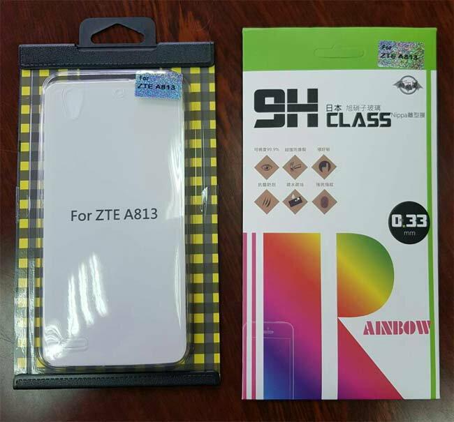 ZTE中興BLADE A813 (ZTE T617)輕戀愛魅5.5吋4G-LTE智慧型國民機--玻璃保貼+保護套(透明)