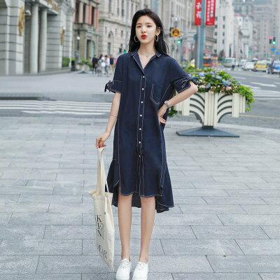 韓系女裝白邊魚尾裙荷葉邊開叉中長款連身裙洋裝樂天時尚館。預購