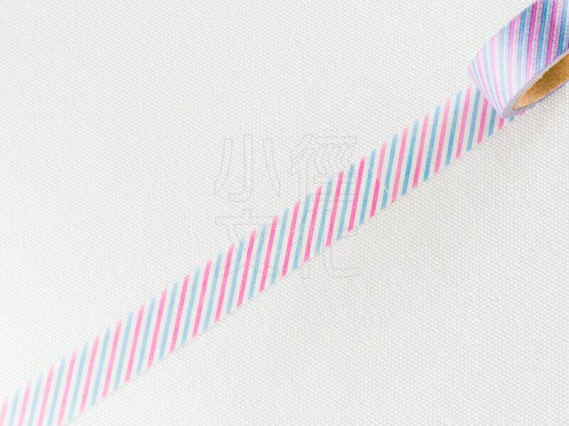 *小徑文化*日本進口和紙膠帶 Word carft系列 - 藍粉斜紋 ( W02-MK-T0005 )