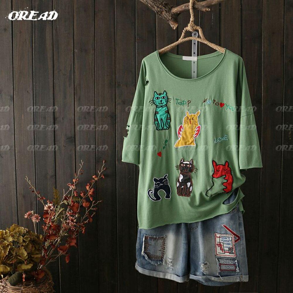可愛多彩貓咪刺繡短袖上衣(4色F碼) *ORead* 2