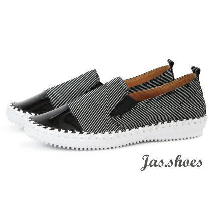 JAS shoes 角色製靴:JASSHOES【JC0600】撞色鏡面超軟綿羊皮條紋真皮低調踩腳無內裡懶人鞋平底鞋休閒鞋-黑白條紋