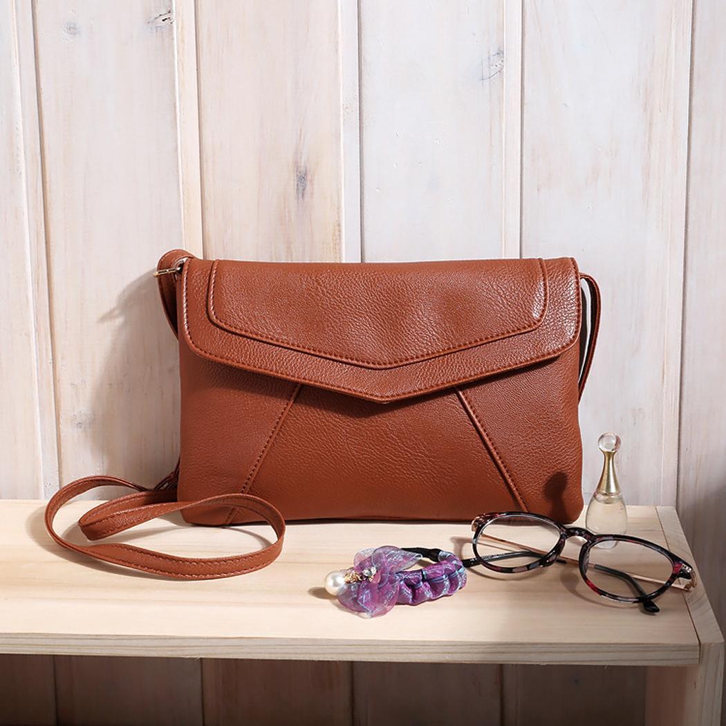 Ladies Leather Pure Color Hasp Closure Messenger shoulder Bag 4
