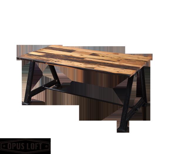 純真年代Opus Loft:復古工業風大A鑄鐵腳松木桌