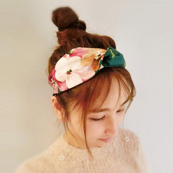 PS Mall 2016 髮帶天竺葵花朵字母真絲綢緞鬆緊發帶頭飾發箍~G1975~ ~