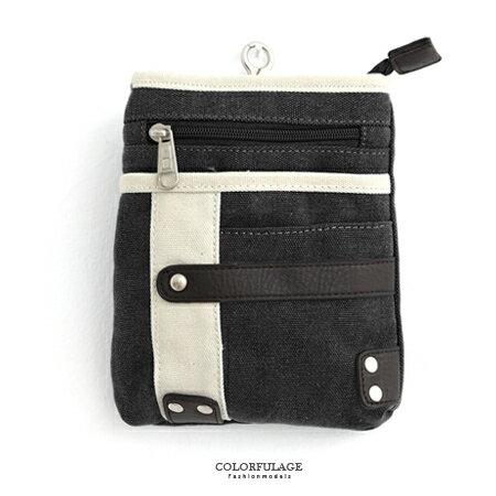 腰包 多功能厚實帆布皮革雙色掛包 隨身側背包/手機包/零錢包 柒彩年代【NZ443】單個售價