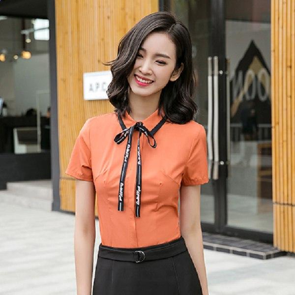 灰姑娘[8S081-PF]襯衫領配色OL短袖上衣(不含領飾彩帶)~