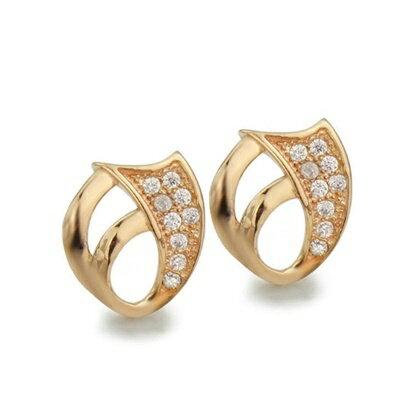 玫瑰金純銀耳環鑲鑽耳飾~典雅 繽紛耀眼母親節生日情人節 女飾品73dm136~ ~~米蘭