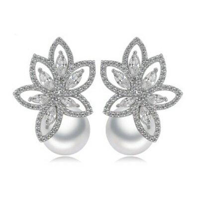 純銀耳環鍍白金鑲鑽耳飾~ 高檔貝殼珠生日情人節 女飾品73cr80~ ~~米蘭 ~