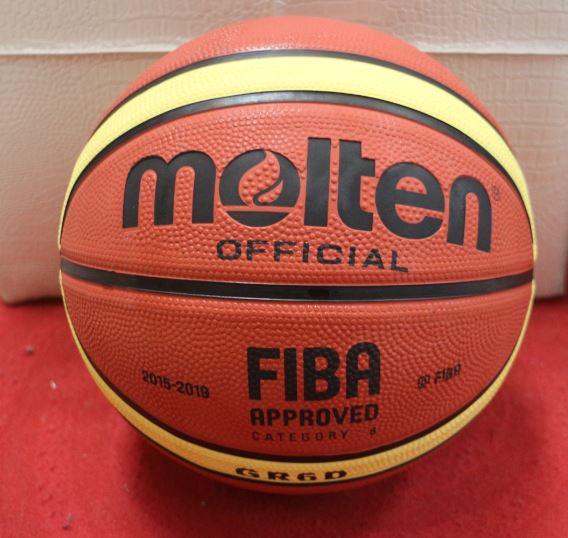 [陽光樂活=] (3 顆裝) MOLTEN 12片貼深溝橡膠籃球 女子專用6號球 GR6D 棕x黃