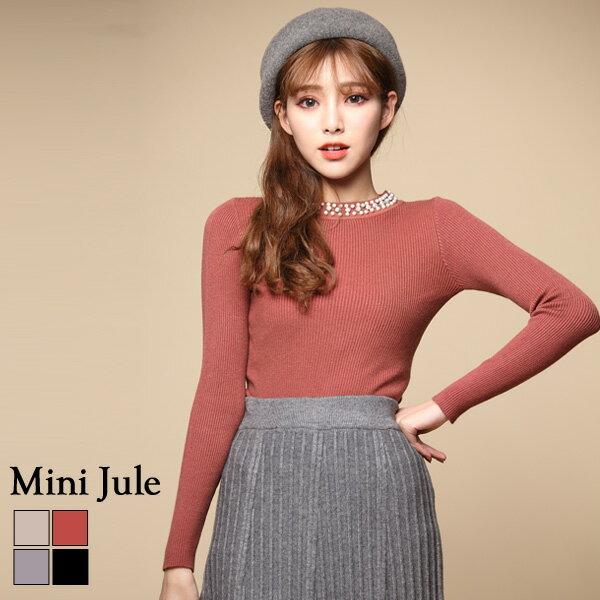 小豬兒 Mini Jule:針織毛衣華麗領飾彈性修身針織衣小豬兒MiNiJule【SJE72000822】