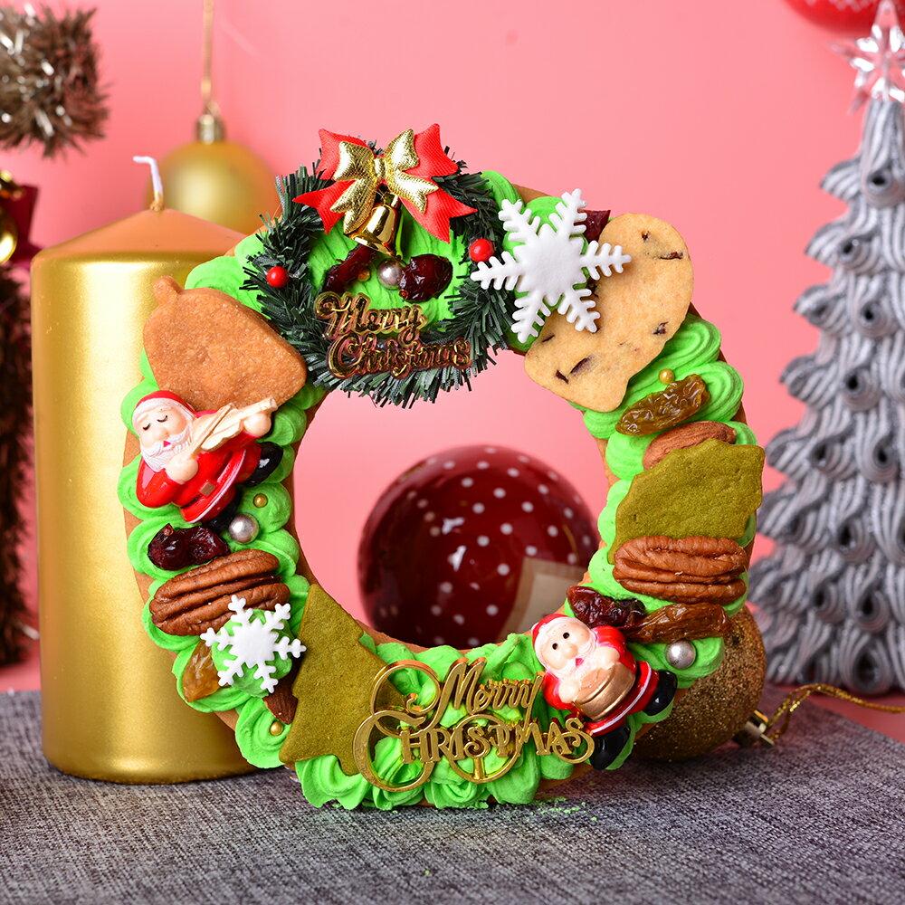 聖誕節 ~蘇格蕾~ 聖誕花圈 ~6吋 ^~ 天然薑粉製作的聖誕花圈,擠上一圈圈的糖霜,點綴