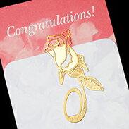 玫瑰 書籤 18K金 簍空 金屬 雕花 水果 黃金 夾子 籤 葉子 禮品 書