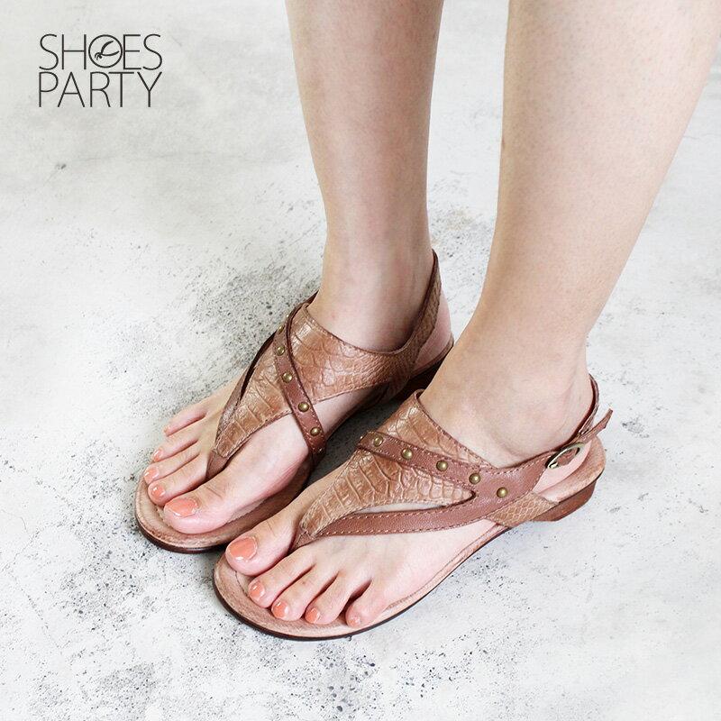 限量現貨【F2-18609L】世界系列-側帶低跟夾腳涼鞋_Shoes Party 1
