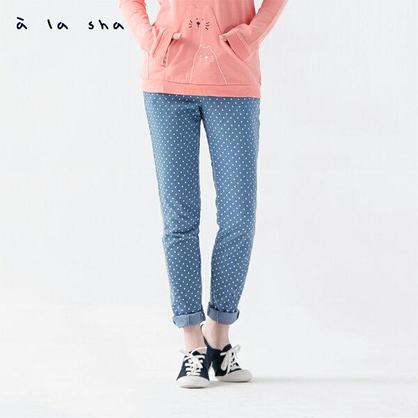 a la sha:àlashamucha牛仔點點雙層口袋合身窄管褲