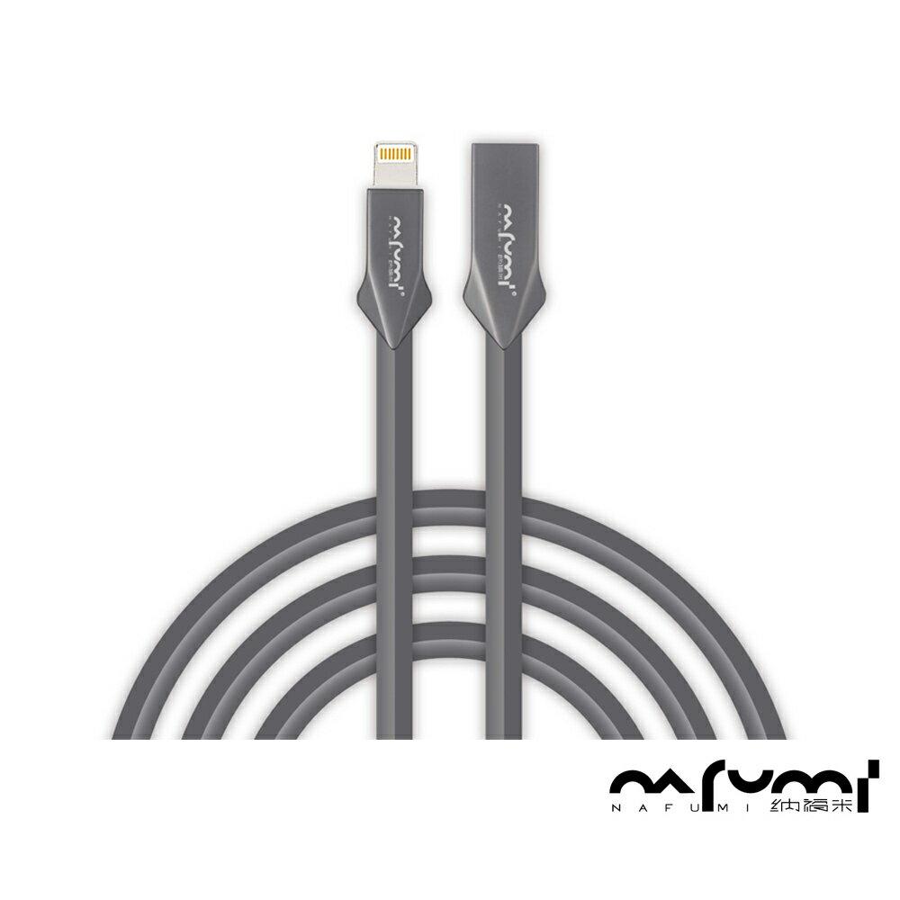 【NAFUMI 納福米】APPLE Lightning Iphone 機甲金屬高性能快充傳輸線(100cm)黑色 0