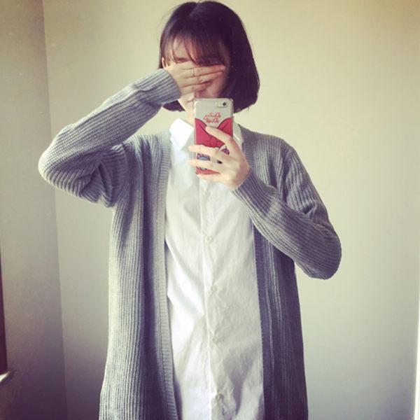 PS Mall 針織中長款開衫外套 針織外套 上衣【T170】