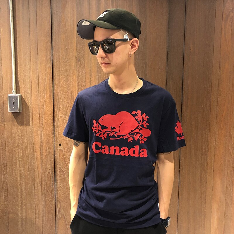 美國百分百【全新真品】Roots 加拿大 海貍 經典款 T恤 logo 棉質 短T T-shirt 印圖 J211