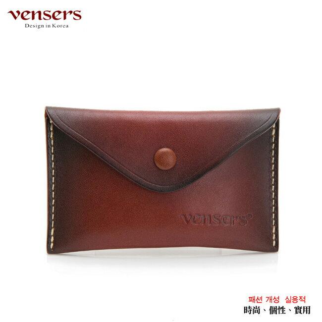 【Vensers】小牛皮潮流個性皮夾~(NB0001302紅棕名片夾)