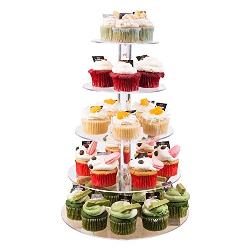 5 Tier Cupcake Stand, Crystal Clear Acrylic Cupcake Display Stand Round Tower Cupcake Dessert Display Stand (US Stock) (5 Tier) 0