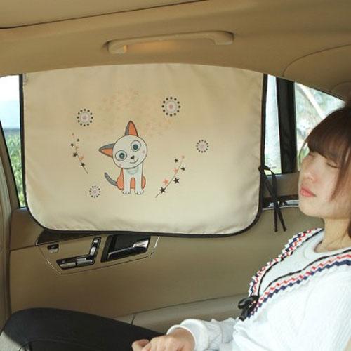 可愛卡通汽車磁性遮陽簾車用窗簾防曬隔熱遮陽擋側窗磁鐵遮光簾遮陽板