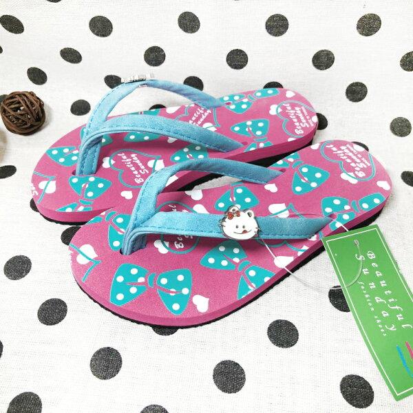 【巷子屋】女童貓咪造型夾腳拖鞋人字拖[96075]粉MIT台灣製造超值價$100