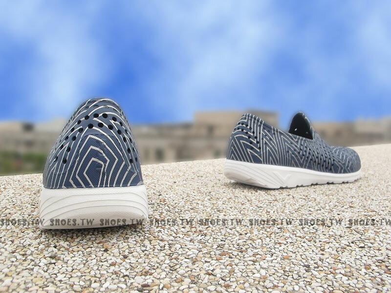 《限時特價79折》Shoestw【62U1SA61DB】PONY TROPIC 水鞋 軟Q 防水 懶人鞋洞洞鞋 深藍銀線 親子 2
