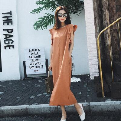 [全店免運] 甜美荷葉袖條紋開叉收腰連身裙 洋裝/ 樂天時尚館