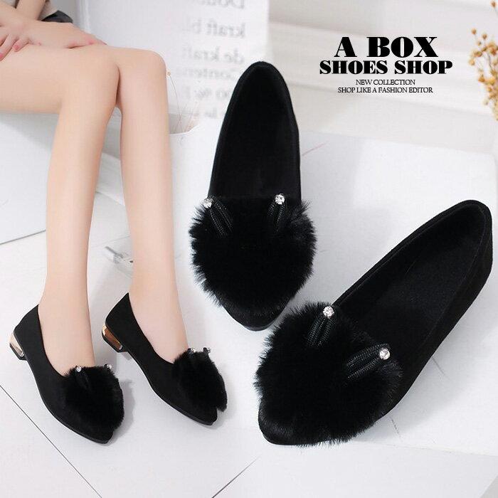【AW117】2CM粗低跟 圓頭包鞋 娃娃鞋 毛毛鞋 水鑽柔軟絨面絨毛可愛兔耳朵 2色
