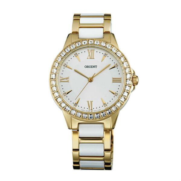 ORIENT東方錶DRESS系列(FQC11002W)時尚晶鑽羅馬數字石英錶陶瓷鋼帶款金色34mm