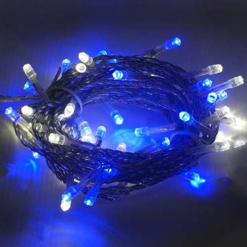 聖誕燈50燈LED樹燈串 (藍白光透明線)(附控制器跳機)(高亮度又省電)YS-XLED050009