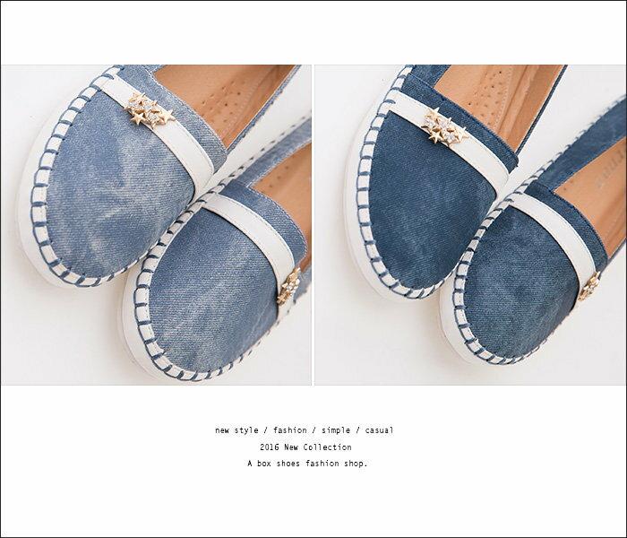 ★399免運★格子舖*【KF1511-18】時尚金屬星星水鑽 編織車線 仿牛仔布紋皮革 娃娃鞋 圓頭平底包鞋 2色 2