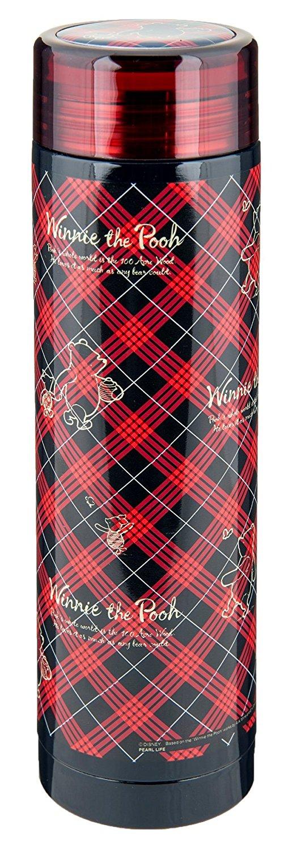 X射線【C421163】維尼不鏽鋼瓶(紅格紋)500ml,隨手瓶/保溫杯/直飲式水壺/保冷保溫/環保