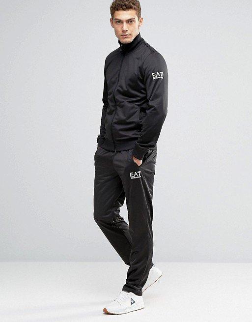 美國百分百【全新真品】Emporio Armani 立領外套夾克 褲子 長褲 運動褲 EA7 套裝 黑色 XS H801