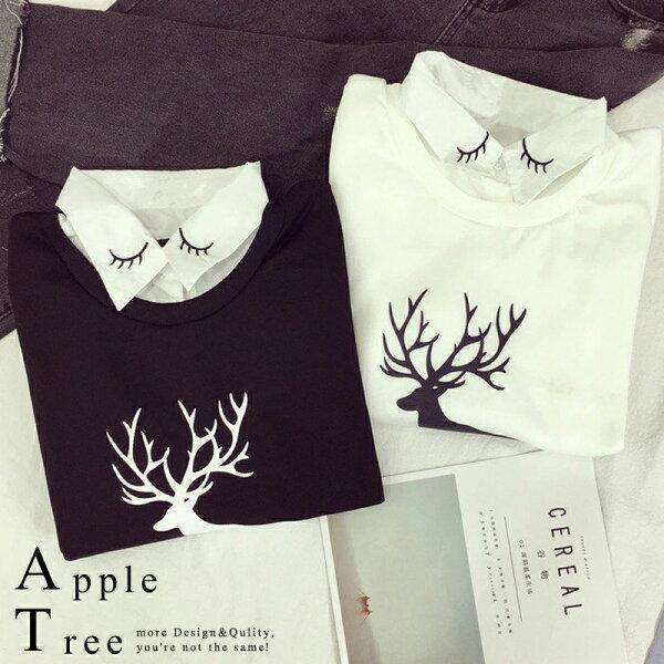 蘋果樹AppleTree:★五折249均一價★AT日韓-假兩件麋鹿圖案刷毛衛衣3色【709041】