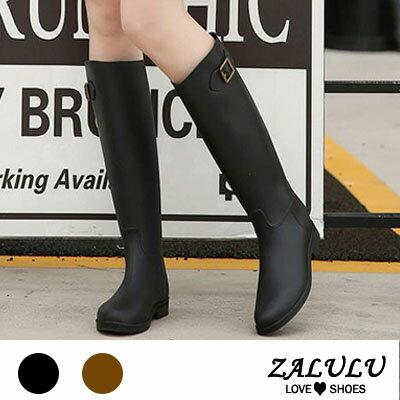ZALULU愛鞋館JK015預購防水高筒修身搭扣雨鞋-黑咖啡-36-40
