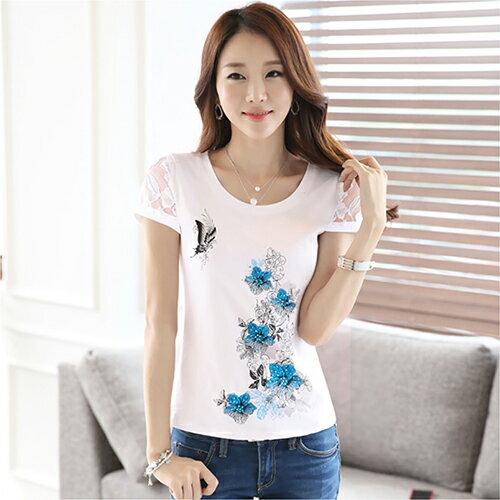 純棉蕾絲衫短袖T恤 (白色,S~2XL) - ORead 自由風格